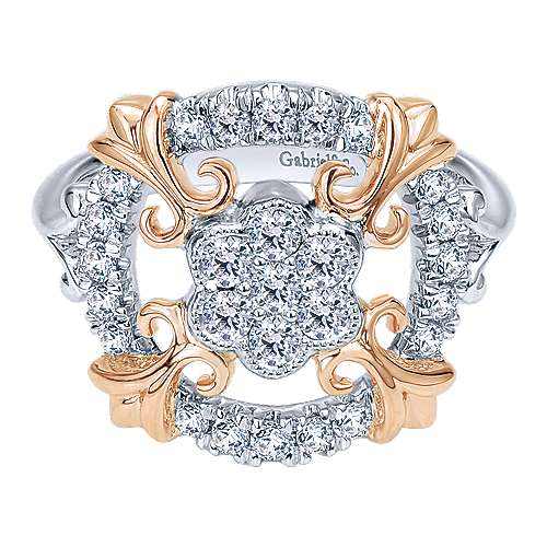 Gabriel - 14k White And Rose Gold Lusso Classic Ladies' Ring