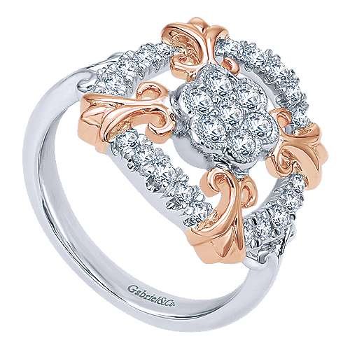 14k White And Rose Gold Lusso Classic Ladies' Ring angle 3