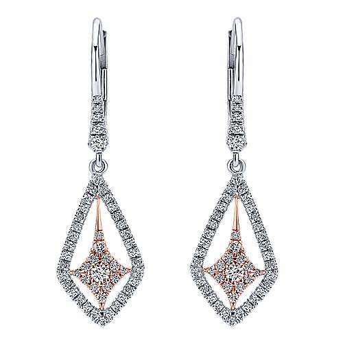 14k White And Rose Gold Lusso Diamond Drop Earrings angle 1