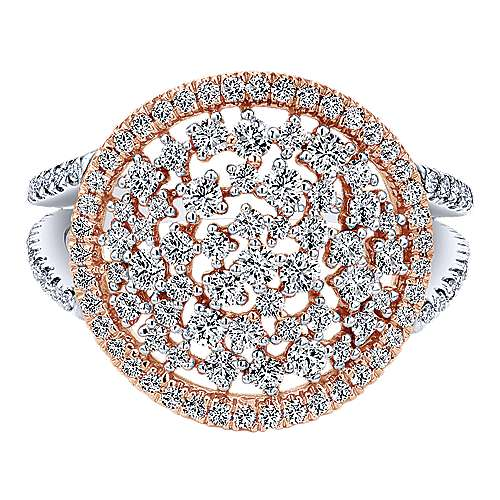 Gabriel - 14k White And Rose Gold Lusso Diamond Fashion Ladies' Ring
