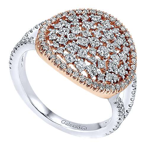 14k White And Rose Gold Lusso Diamond Fashion Ladies' Ring angle 3