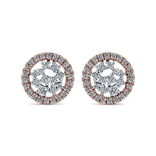 14k White And Rose Gold Lusso Diamond Stud Earrings angle 1