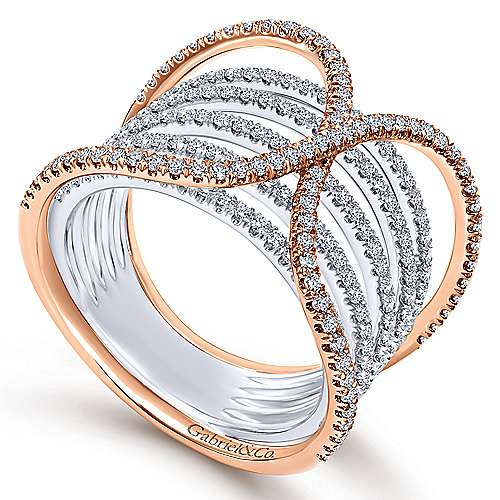 14k White And Rose Gold Lusso Diamond Wide Band Ladies' Ring angle 3