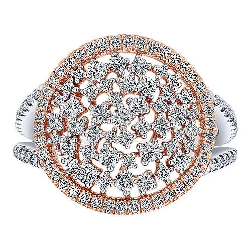 14k White And Rose Gold Lusso Fashion Ladies' Ring angle 4