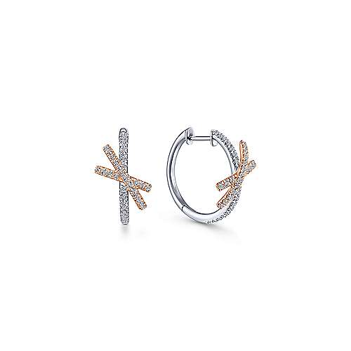 14k White And Rose Gold Lusso Huggie Earrings