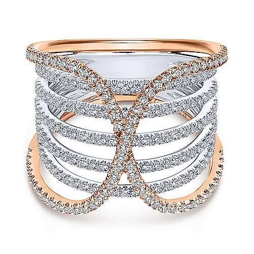 Gabriel - 14k White And Rose Gold Lusso Wide Band Ladies' Ring