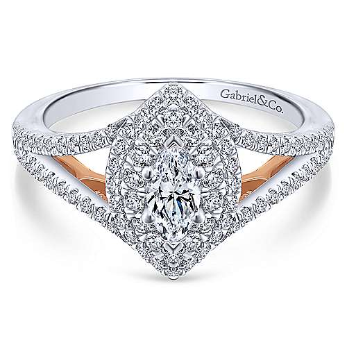 14k White And Rose Gold Marquise  Double Halo Engagement Ring angle 1