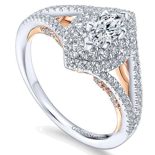 14k White And Rose Gold Marquise  Double Halo Engagement Ring angle 3