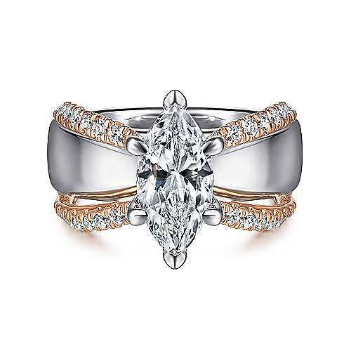 Gabriel - 14k White And Rose Gold Marquise  Straight Engagement Ring