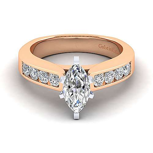 14k White And Rose Gold Marquise  Straight Engagement Ring angle 1