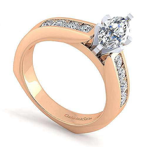 14k White And Rose Gold Marquise  Straight Engagement Ring angle 3