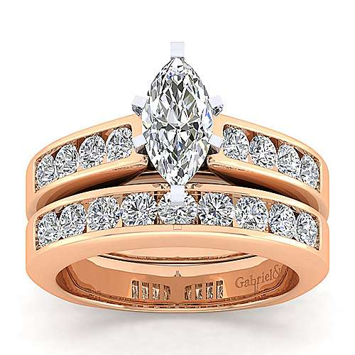 14k White And Rose Gold Marquise  Straight Engagement Ring angle 4