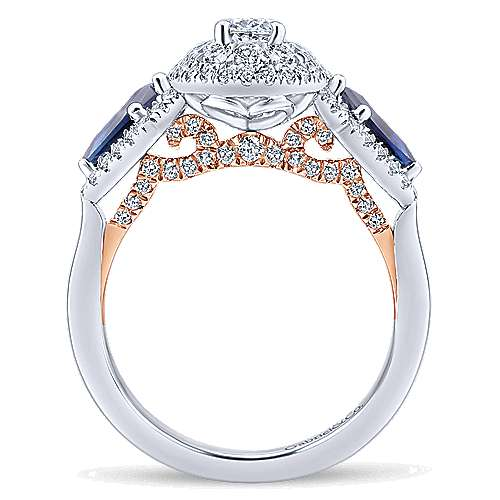 14k White And Rose Gold Oval 3 Stones Halo Engagement Ring angle 2