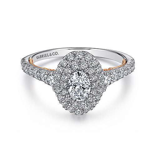 14k White And Rose Gold Oval Double Halo Engagement Ring angle 1