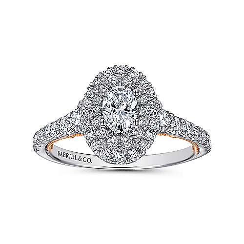 14k White And Rose Gold Oval Double Halo Engagement Ring angle 5