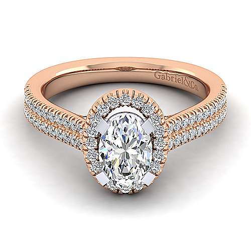 14k White And Rose Gold Oval Halo Engagement Ring angle 1