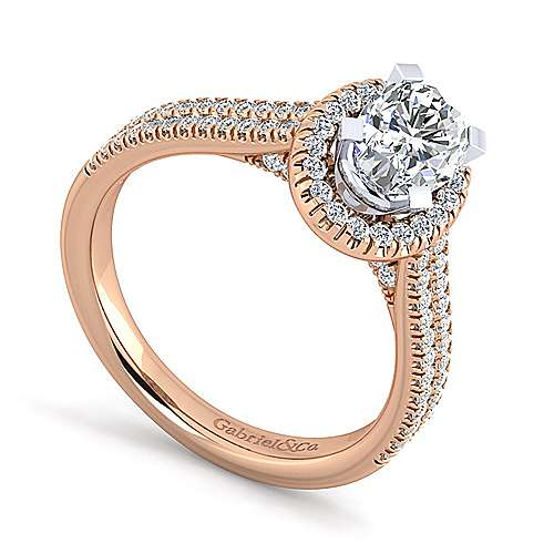 14k White And Rose Gold Oval Halo Engagement Ring angle 3
