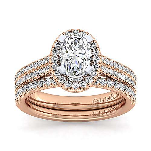14k White And Rose Gold Oval Halo Engagement Ring angle 4