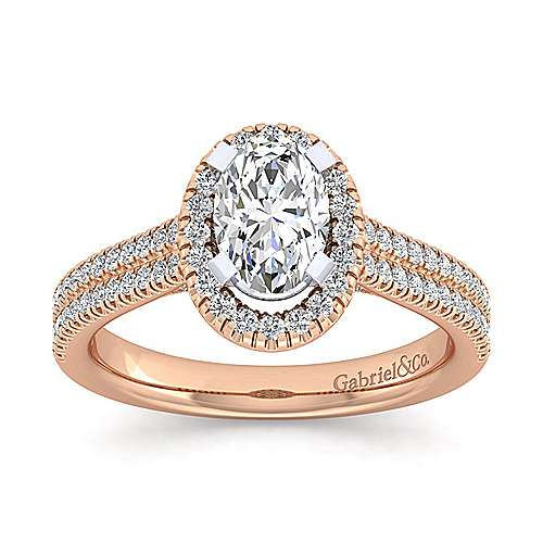 14k White And Rose Gold Oval Halo Engagement Ring angle 5