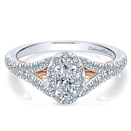 Gabriel - 14k White And Rose Gold Oval Halo Engagement Ring
