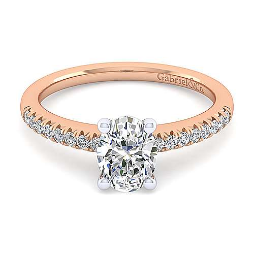 14k White And Rose Gold Oval Straight Engagement Ring angle 1