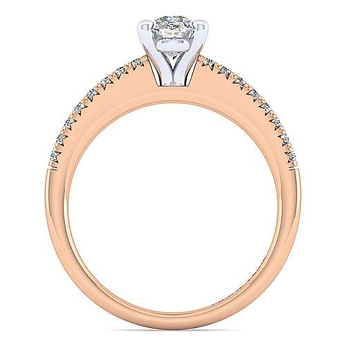 14k White And Rose Gold Oval Straight Engagement Ring angle 2