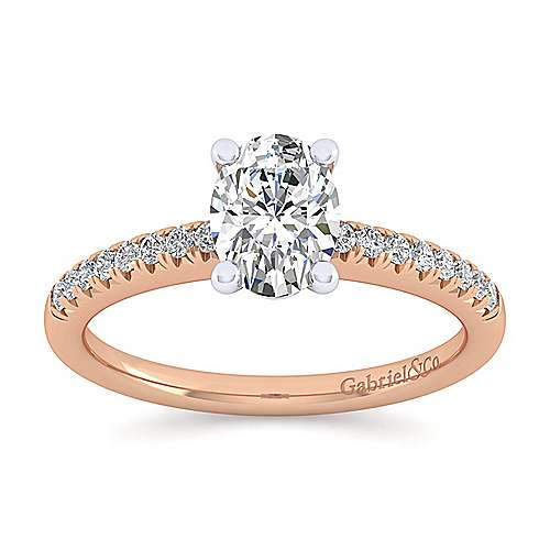 14k White And Rose Gold Oval Straight Engagement Ring angle 5