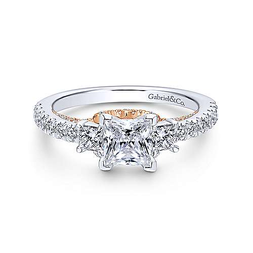 14k White And Rose Gold Princess Cut 3 Stones Engagement Ring angle 1