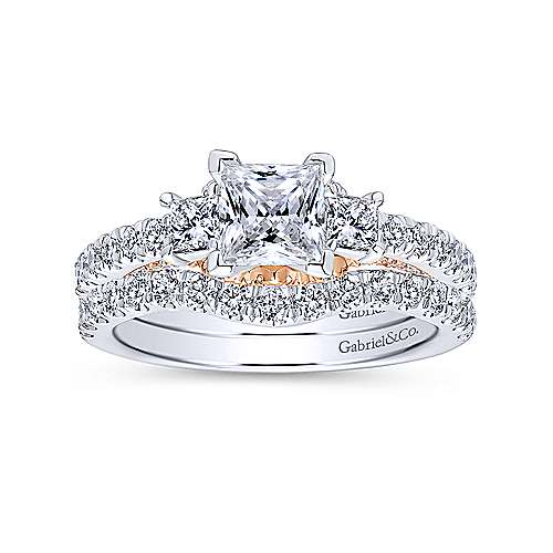14k White And Rose Gold Princess Cut 3 Stones Engagement Ring angle 4