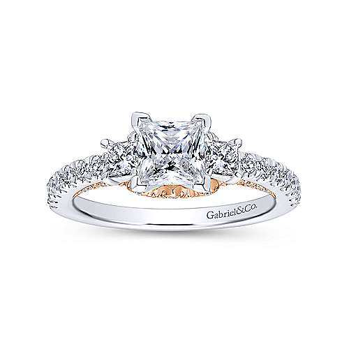 14k White And Rose Gold Princess Cut 3 Stones Engagement Ring angle 5