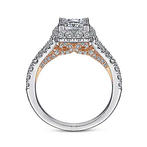 14k White And Rose Gold Princess Cut Halo Engagement Ring angle 2