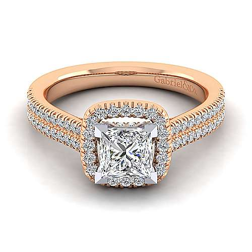 14k White And Rose Gold Princess Cut Halo Engagement Ring angle 1