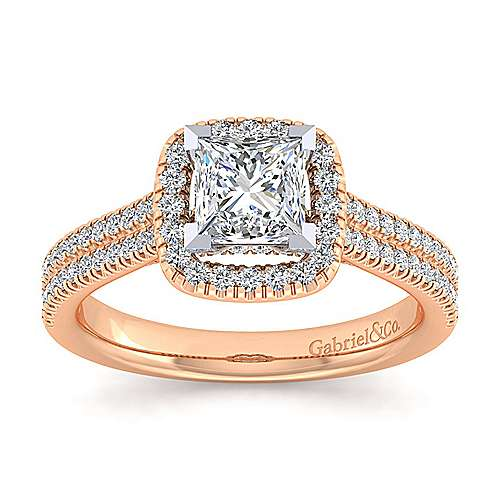 14k White And Rose Gold Princess Cut Halo Engagement Ring angle 5