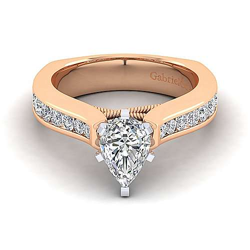 14k White And Rose Gold Princess Cut Straight Engagement Ring angle 1