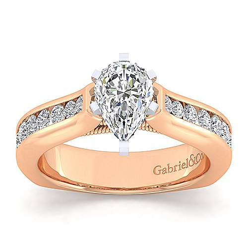14k White And Rose Gold Princess Cut Straight Engagement Ring angle 5