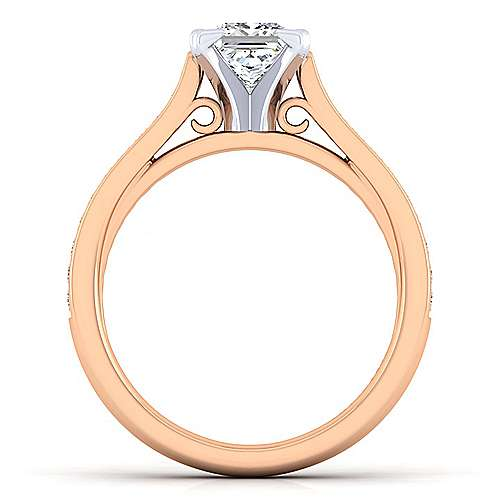 14k White And Rose Gold Princess Cut Straight Engagement Ring angle 2