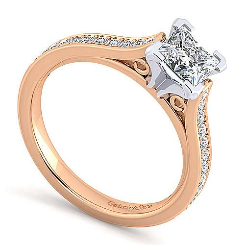 14k White And Rose Gold Princess Cut Straight Engagement Ring angle 3