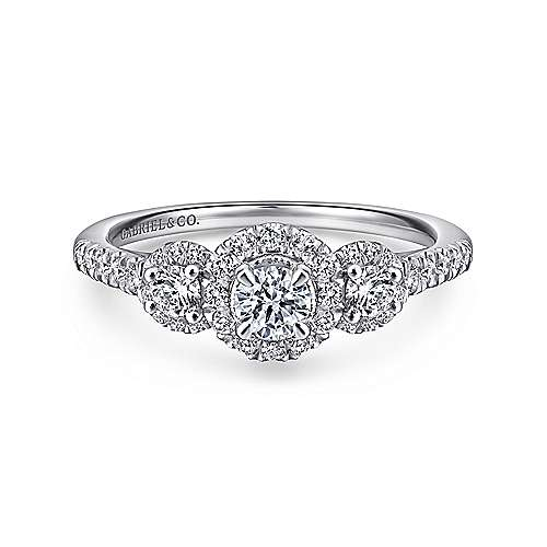 14k White And Rose Gold Round 3 Stones Halo Engagement Ring angle 1
