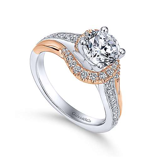 14k White And Rose Gold Round Bypass Engagement Ring angle 3