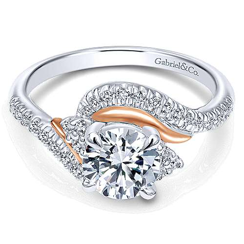 Gabriel - 14k White And Rose Gold Round Bypass Engagement Ring