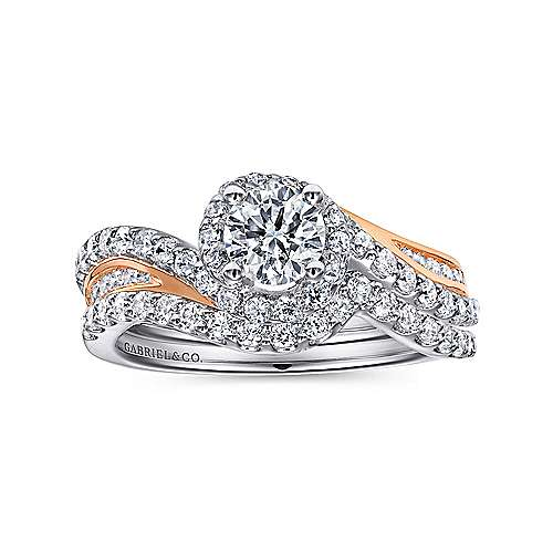 14k White And Rose Gold Round Bypass Engagement Ring angle 4
