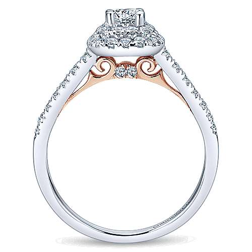 14k White And Rose Gold Round Double Halo Engagement Ring angle 2