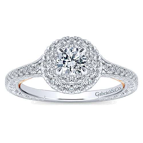 14k White And Rose Gold Round Double Halo Engagement Ring angle 5