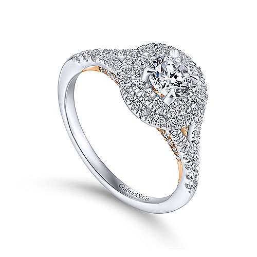 14k White And Rose Gold Round Double Halo Engagement Ring angle 3