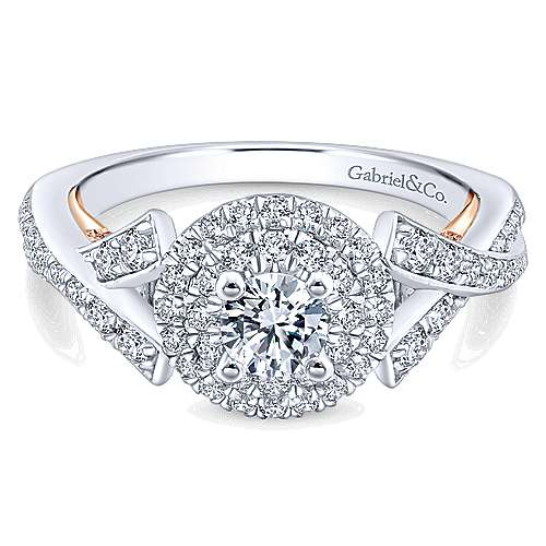 Gabriel - 14k White And Rose Gold Round Double Halo Engagement Ring