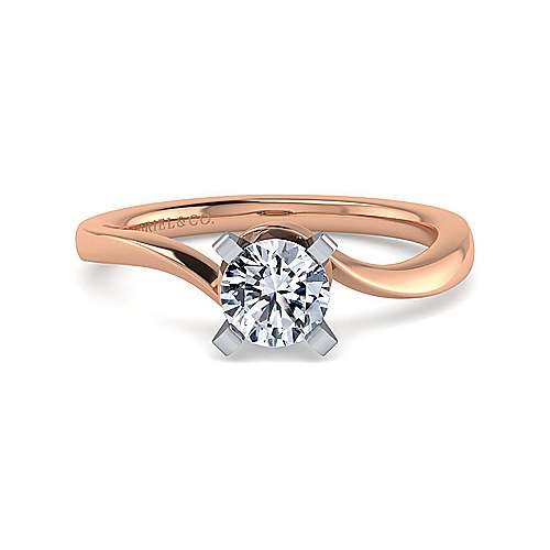 Gabriel - 14k White And Rose Gold Round Solitaire Engagement Ring