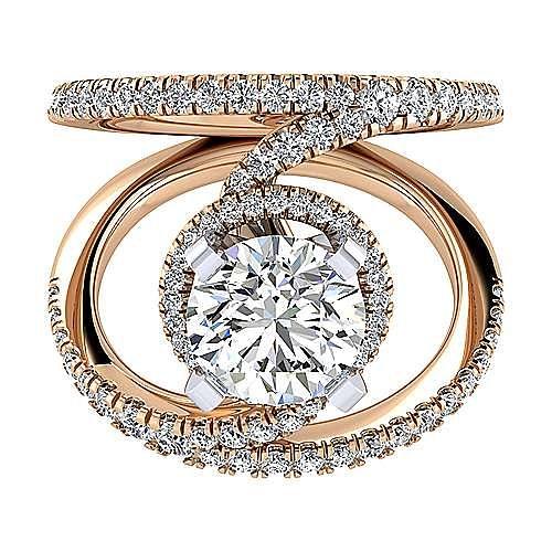 Gabriel - 14k White And Rose Gold Round Split Shank Engagement Ring