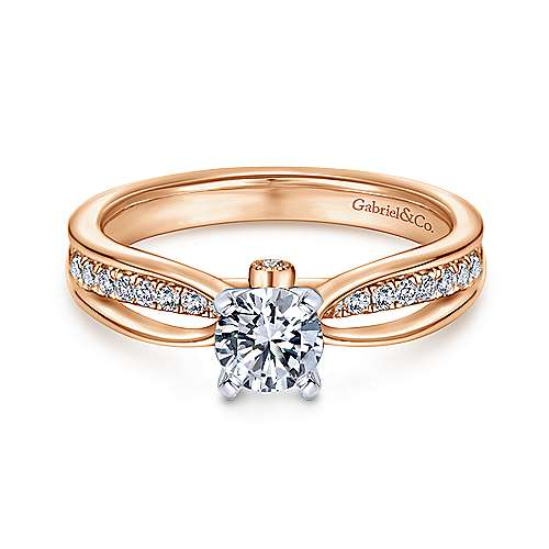 Gabriel - 14k White And Rose Gold Round Split Shank Engagement Ring