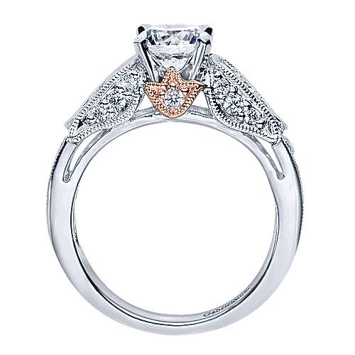 14k White And Rose Gold Round Straight Engagement Ring angle 2