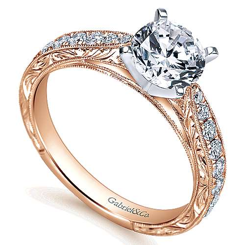 14k White And Rose Gold Round Straight Engagement Ring angle 3